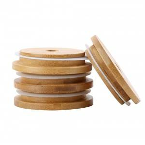 70mm Regular Mouth Mason Jar Bamboo Lids with Straw Hole