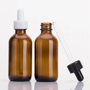2oz Amber Glass Round Boston Bottles With Dropper for Essential Oil