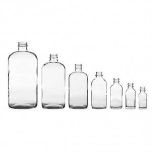 Clear Boston Round Glass Bottle for Juice Drinking Use