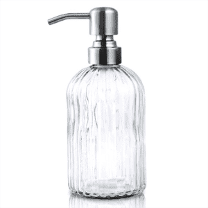 Glass Soap Dispenser with Rust Proof Stainless Steel Pump, Refillable Liquid Hand Soap Dispensers