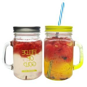 Fancy Handle Glass mason Food Jar for drinking with metal lid