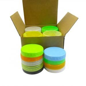 Ready to Ship 86mm Mason Jar Plastic Lids Caps with Hole for Wide Mouth Mason Jars