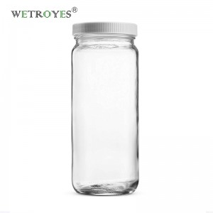 Travel Drinking Bottle 16 Ounce Glass Paragon Jar with Plastic Lids