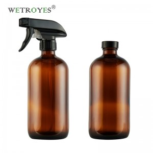 16oz 480ml Amber Glass Trigger Sprayer Bottle