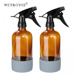 16 oz Empty Amber Glass Spray Bottle with Silicone Sleeve