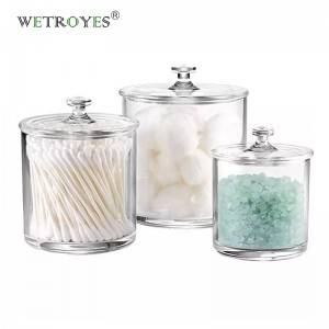 Set of 3 Crystal Plastic Storage Canisters Acrylic Apothecary Jars