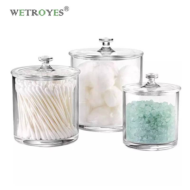 Set of 3 Crystal Plastic Storage Canisters Acrylic Apothecary Jars Featured Image