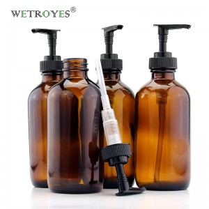 8oz Amber Glass Shampoo Bottle with Plastic Pump