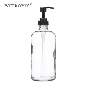 16 Ounce 480ml Clear Glass Bottles Soap Dispensers with Plastic Pump