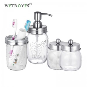 Mason Jar Bathroom Accessories Set