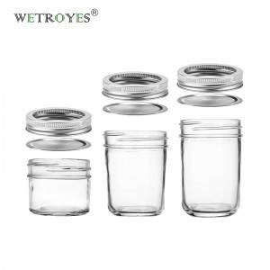 Tapered Mason Jar with Metal Lid