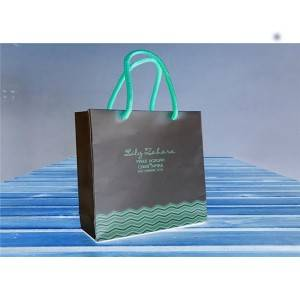 CMYK Printing Retail Store Paper Gift Bags With Glossy Lamination