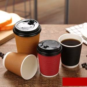 Logo Printed Disposable PE Coated Paper coffee Cups With Lids