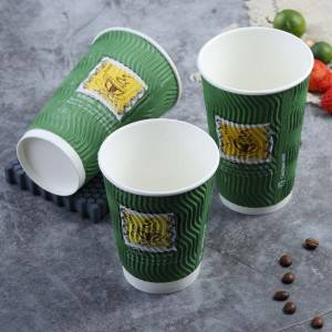 Custom Printing Disposable Double Wall Coffee Hot Drink Paper Cup 450ml 16oz