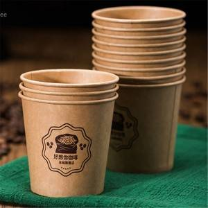 Custom LOGO Printed Disposable Paper Cup PE coated With Lid For Hot Drink