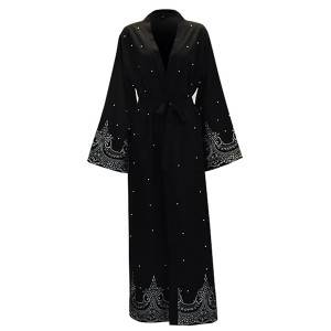 Muslim  Dubai abaya ladies embroidered hot drilling and beading maxi dresses  Islamic wome dress