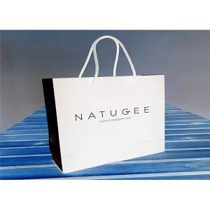 White Retail Paper Carrier Bag Eco – Friendly Customized Paper Gift Bags