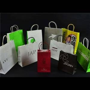Shopping Type Kraft Paper Brown Paper Bags with Handles Custom Logo Available
