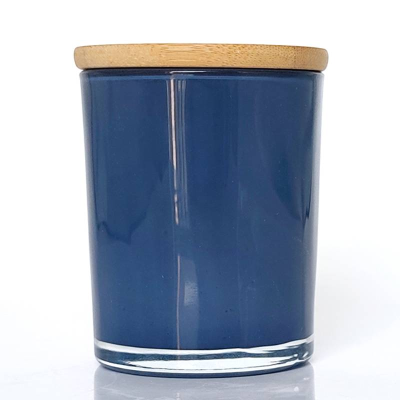 Manufacturer of Tumbler Candle Jars - 10oz Spraying polish glass candle jar with bamboo cover-Blue/Purple/White+Black – Winby Featured Image