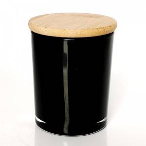 black empty glass candle container