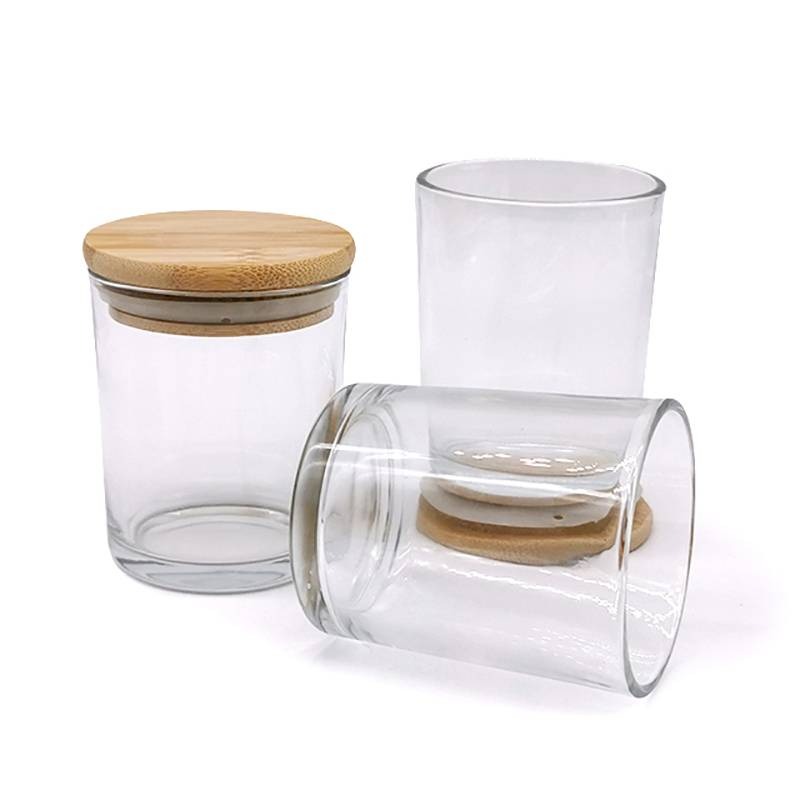Hot New Products Candle Jar With Wooden Lids - big clear glass candle jars with bamboo lid – Winby