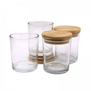 big clear glass candle jars with bamboo lid