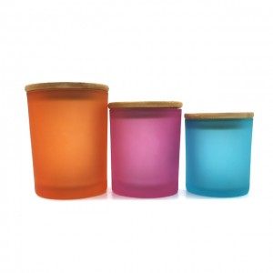 Hot selling frosted glass candle jars with lid