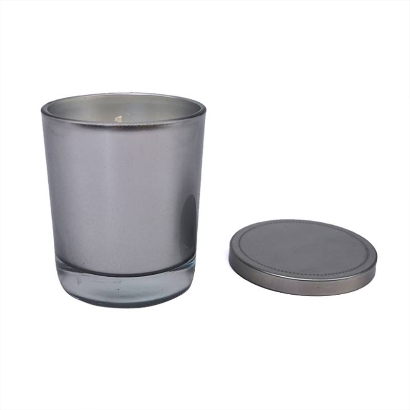 Factory source Aroma Candle - Electroplated silver glass candle with metal lid – Winby