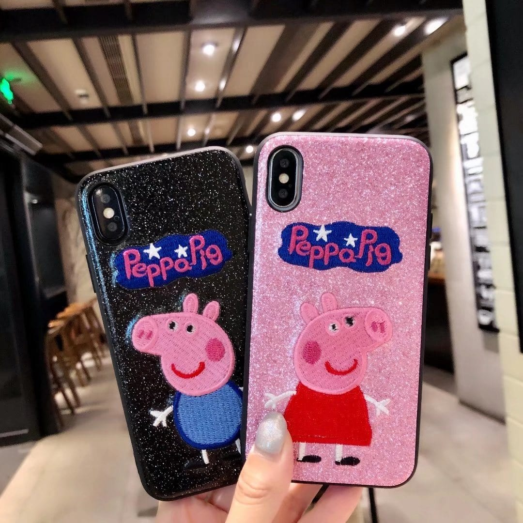 Pet Pig Animal Embroidery Phone Case for iPhone Smart Phone