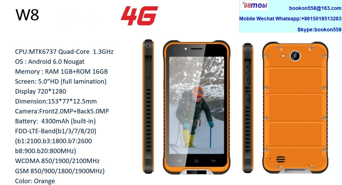 W8 4G FDD Rugged Tri-Proof Smart Phone Smartphone Celulares Movil