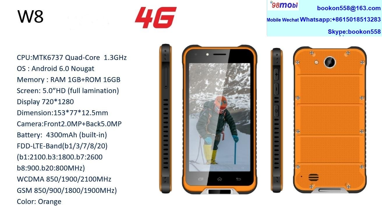 W8 4G FDD Rugged Tri-Proof Smart Phone Smartphone Celulares Movil Featured Image