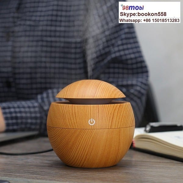 130ml Wood Grain Ultrasonic Aroma Humidifier USB Air Diffuser Purifier Featured Image