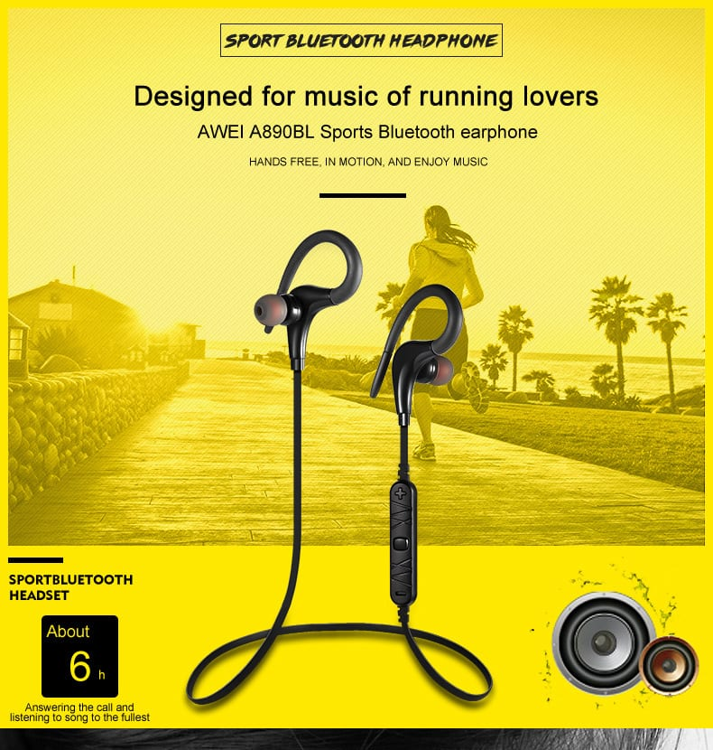 Awei A890bl Sport Wireless Bluetooth Stereo Earphone Headset Earbud