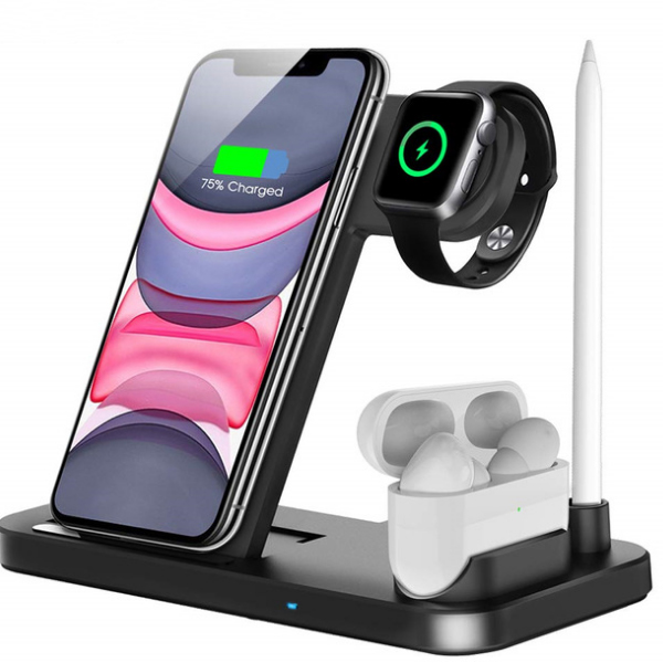 15W Qi Fast Wireless Charger Stand 4 in 1 Foldable Charging Dock Station new arrival