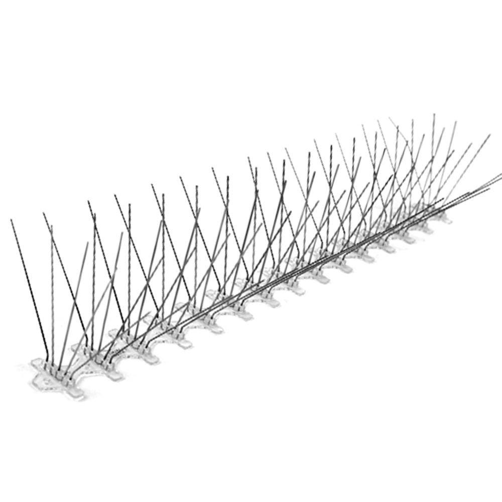 5 rows 75 Spikes Stainless Steel Bird Control  Pest Repeller Anti Bird Spikes