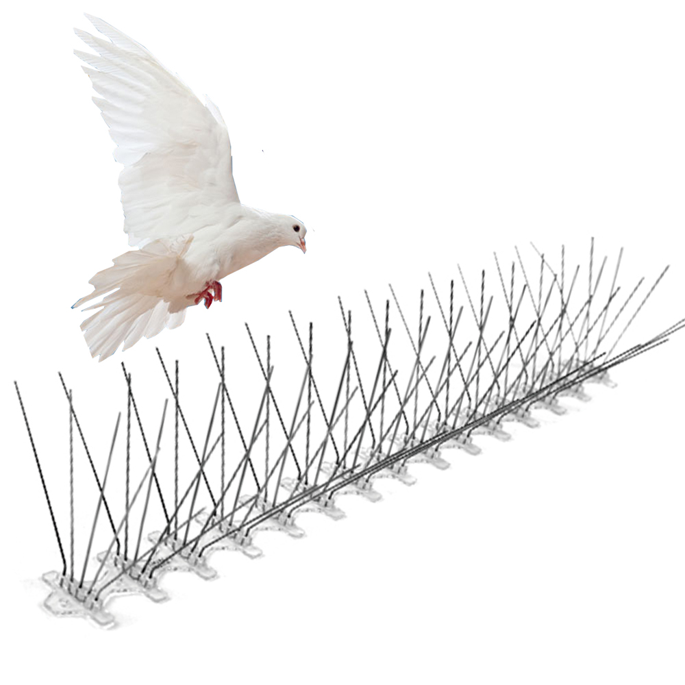 5 rows 75 Spikes Stainless Steel Pigeon Control Pest Repeller Anti Bird Spikes