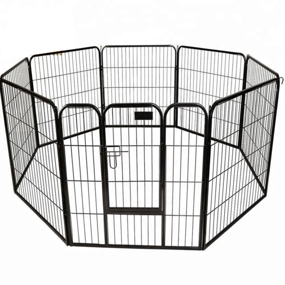 8 Panels Metal Welded Wire Pet Playpen Ground Dog Kennel