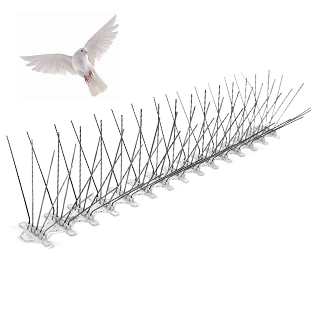5 rows 75 Spikes Stainless Steel PC Basement Pigeon Deterrent Pest Repeller Anti Bird Spikes