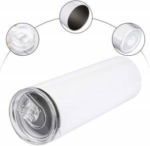 20oz Stainless Steel Sublimation Blanks White Skinny Tumbler In Bulk