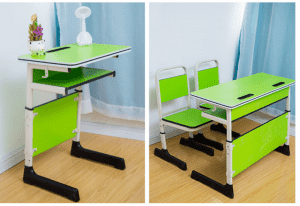 Student double desks and chairs
