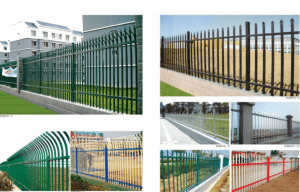 Galvanized garden spiked fence wrought iron picket fence