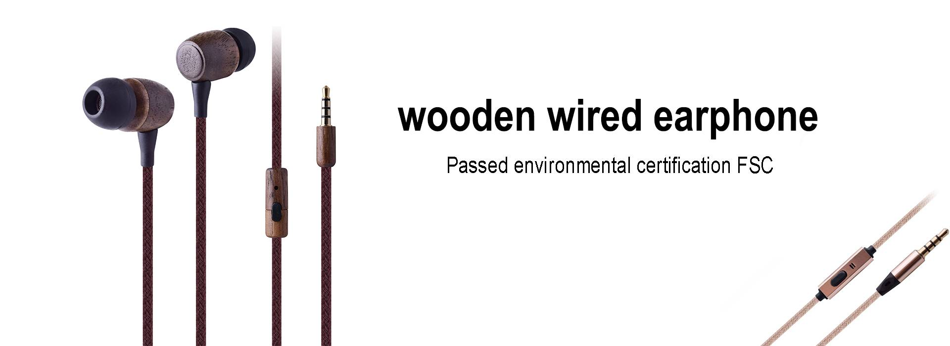 wooden wired earphone