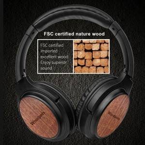 walnut wooden over ear wireless bluetooth 5.0 headphones