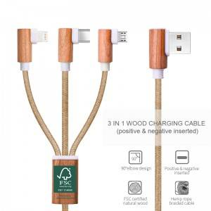 FSC wooden charging cable
