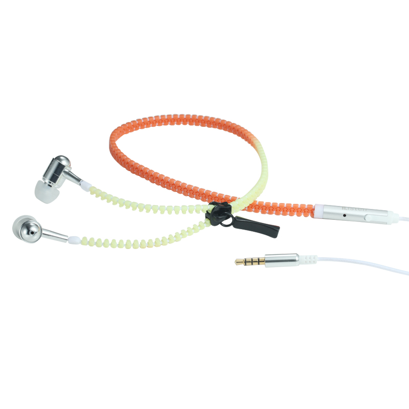 China Cheap price Zipper Earphones With Mic -