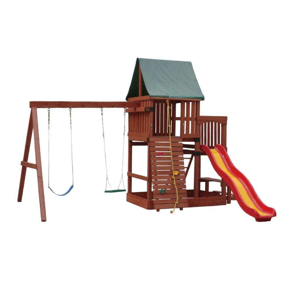 China Wooden Kids Swing And Slide Set