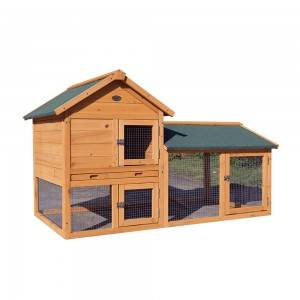 P212 Weather-Proof Wood Rabbit Hutch With Tiered Space And Galvanized Wire Mesh