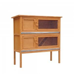P138 Wood Rabbit Hutch With Two Floors And Raisede Legs