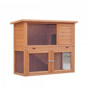 P126 Wood Rabbit Hutch With Galvanized Wire Mesh And Two Floors