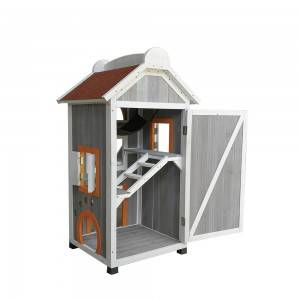P409 Wooden Cat House With Tiered Space And Window